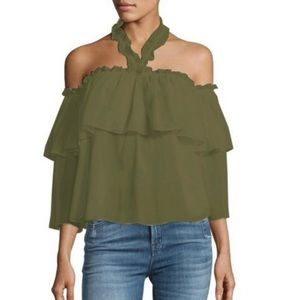 Misa Army Green off the shoulder top